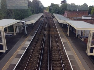 View from new Worcester Park station footbridge without old footbridge